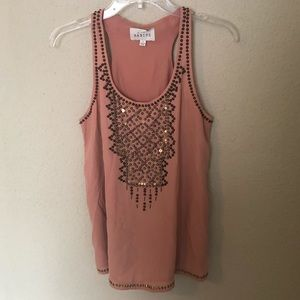 NWOT Anthrop. SABINE Peach Beaded Sleeveless Top